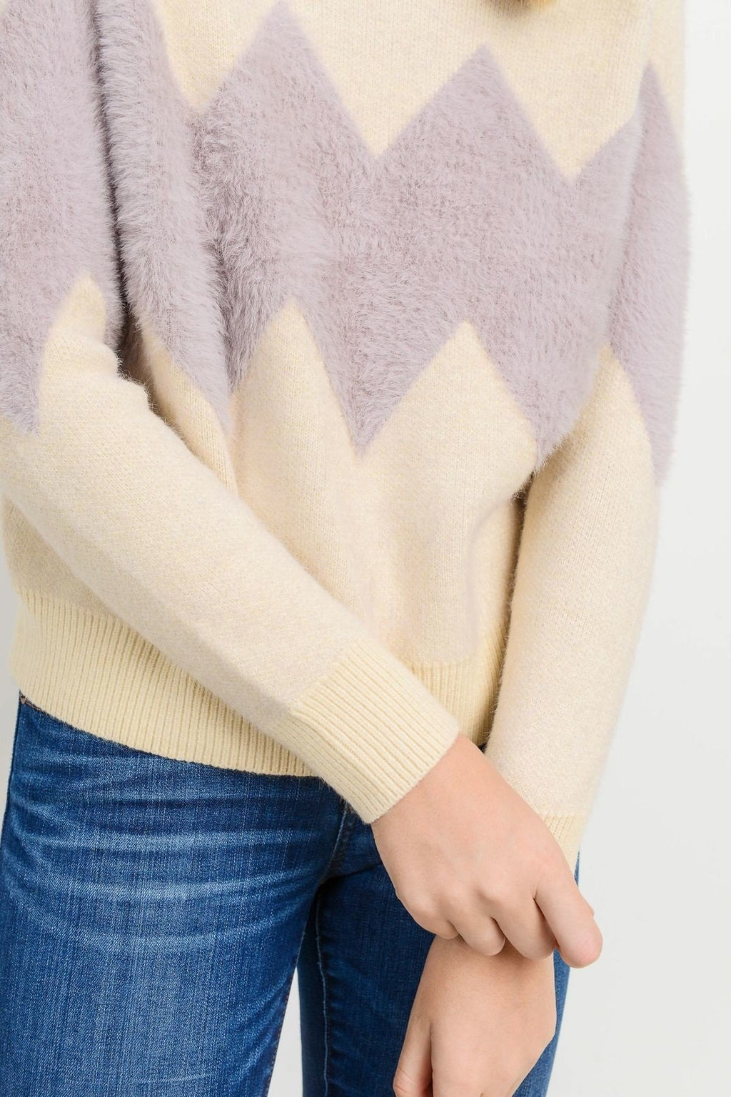 Charlotte Sweater Lavender Chevron Stripe
