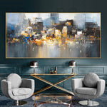 City Building Rain Boat Poster Pictures Room Decoration Abstract Oil Painting