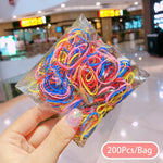50/100/200 Pcs/Bag Children Cute Candy Color Solid Elastic Rubber Hair Bands