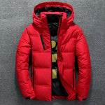 Men Winter Jacket Coat Casual Stand Collar Puffer Thick Hat White Duck Parka