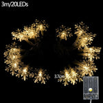 Christmas Snowman Snowflake Led String Light Home Party Decor Christmas Ornament