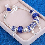 Pink Crystal Charm 925 Sterling Silver Bracelets Women Designer Murano Beads Jewelry