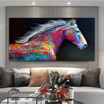 Running Horse Wind Poster Home Decoration Abstract Oil Painting