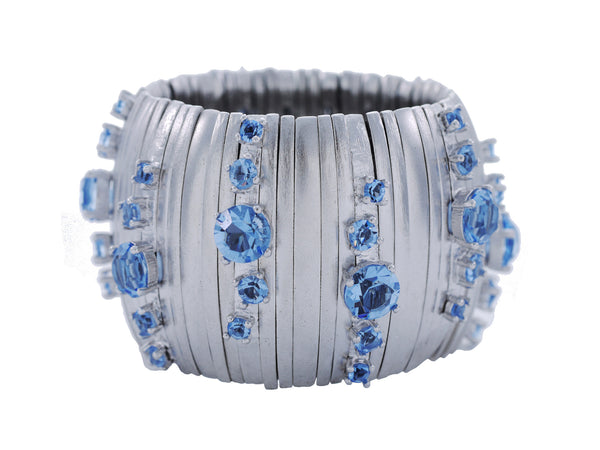 Caterpillar Cuff in Pale Silver & Cornflower