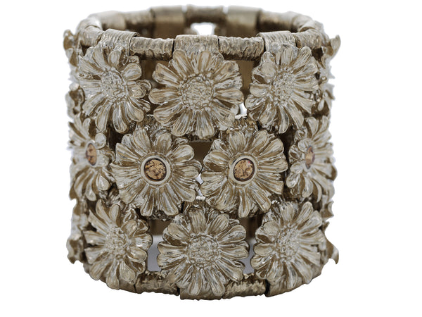 Fiore' Cuff in Pale Gold & Brut