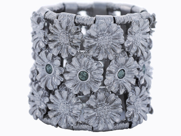 Fiore' Cuff in Vintage Silver & Blue Ice
