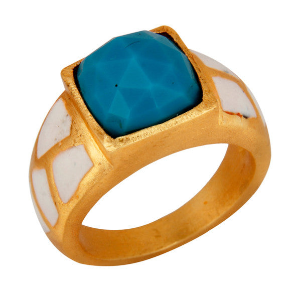 Polona Ring in Milk Lacquer, Turq & Gold
