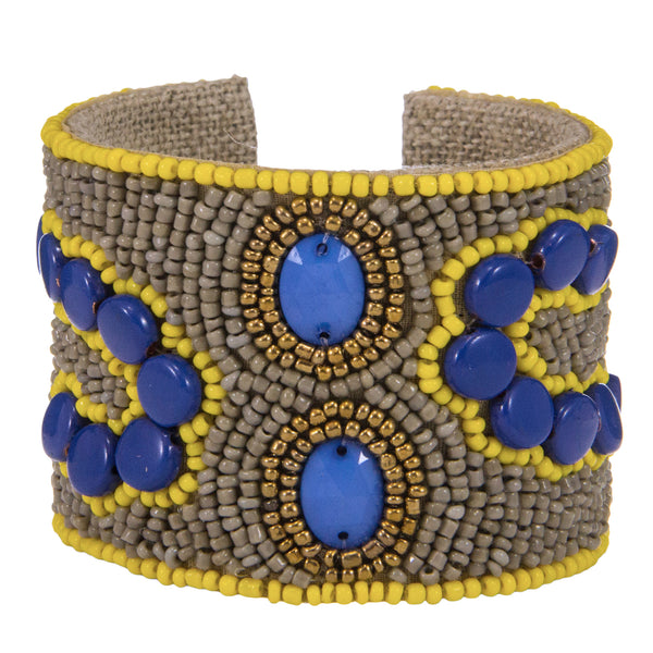 Arte Moderne Devi Cuff in Cobalt, Pale Storm & Sunshine Yellow