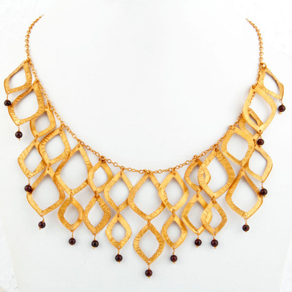Kassandra Necklace in Gold Foil & Garnet