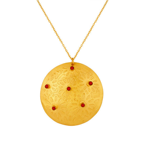 Melina Pendant in Gold & Coral