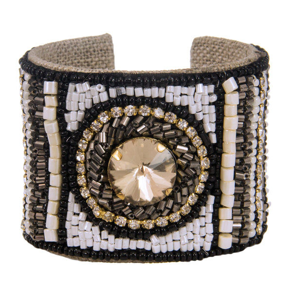 Bel Centro Devi Cuff in Quartz and Noir