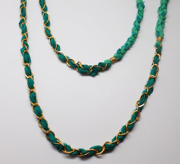 Chloe Scarf Necklace in Green Envy