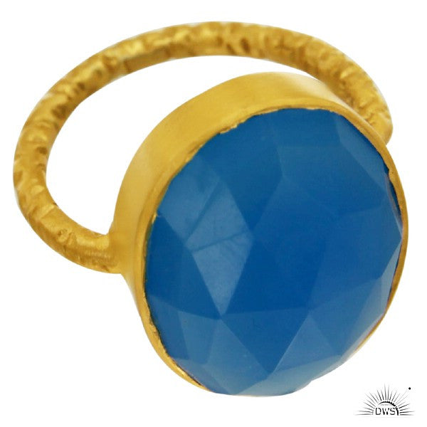 Kyra Ring in Deep Pool Chelcedoney & Gold