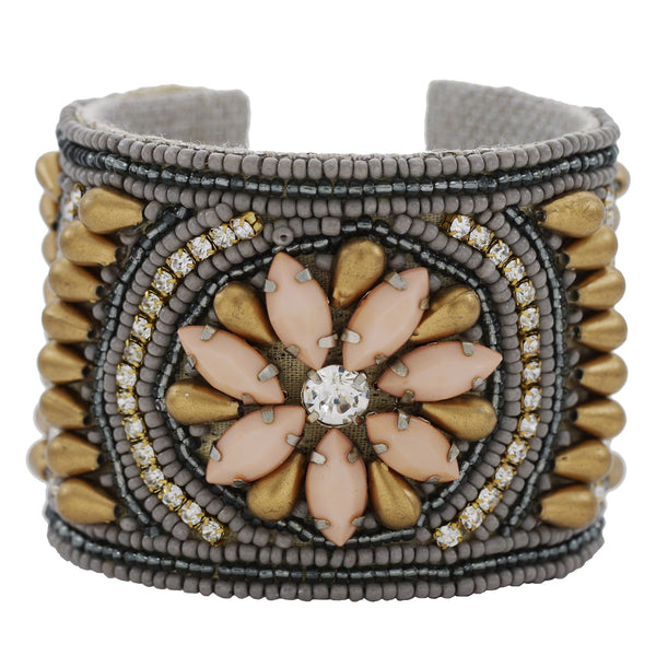 Deco Daisy Devi Cuff in Melon, Brass & Flannel