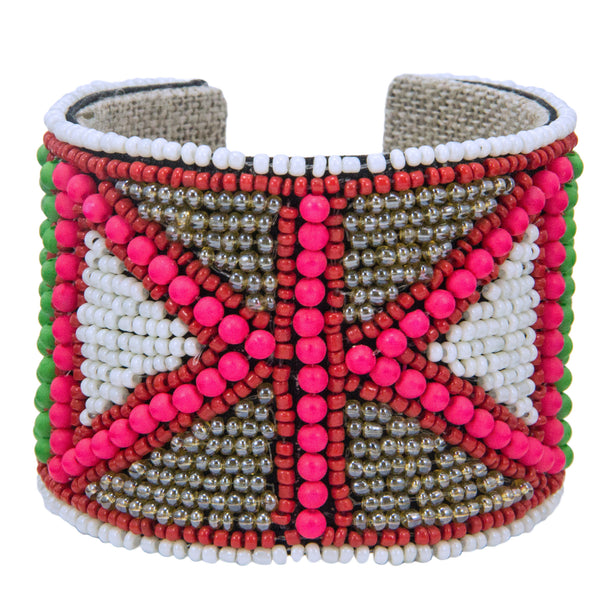 Flag Pattern Devi Cuff in Pop Pink, Slate & Lime