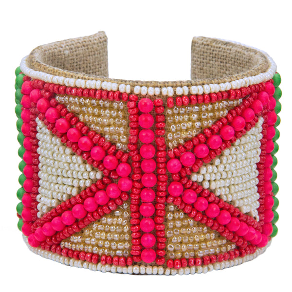 Flag Pattern Devi Cuff in Pop Pink, Bubbly & Lime