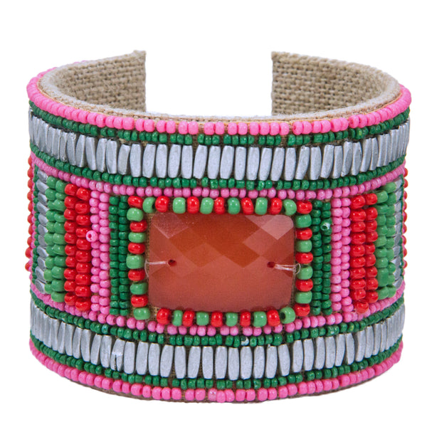 Geo Stripe Devi Cuff in Fire, Pink & Grass