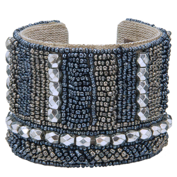 Gunmetal Devi Cuff in Liquid Denim