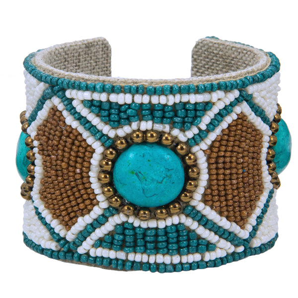 Hexi Pattern Devi Cuff in Metallic Turk & Bronze