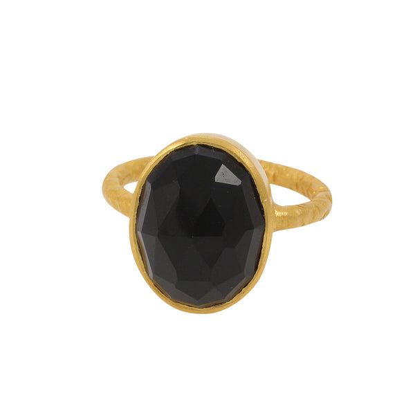 Kyra Ring in Black Onyx & Gold
