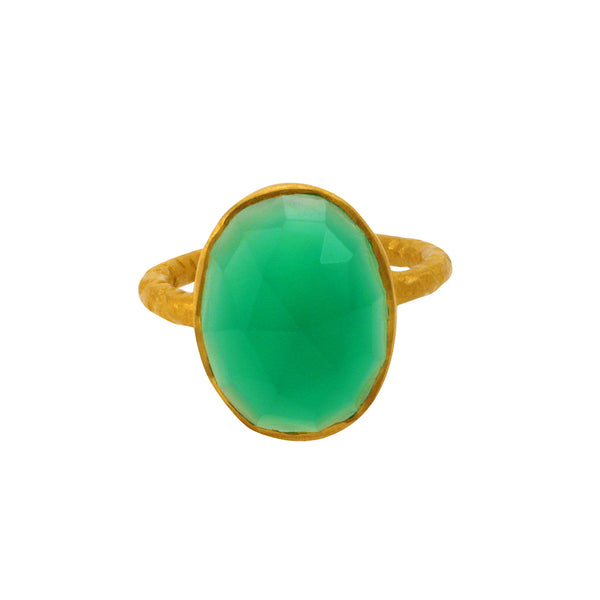 Kyra Ring in Green Onyx & Gold