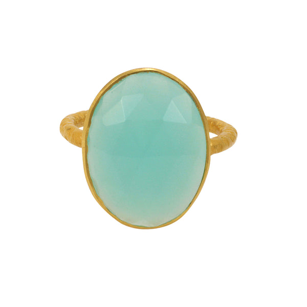 Kyra Grande Ring in Pool Blue & Gold