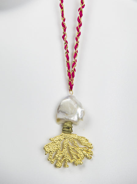 Kori Pendant in Gold & Coral