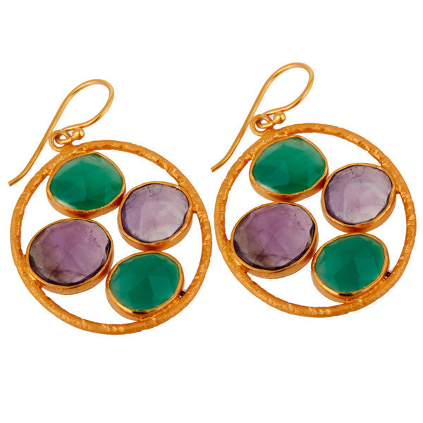 Theodora Earring in Amethyst & Green Onyx