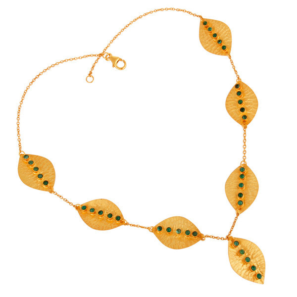 Dolma Necklace in Gold & Emerald