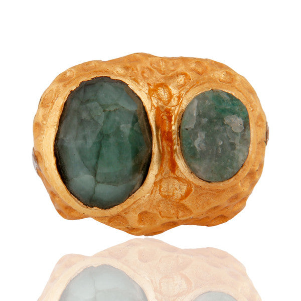 Salma Ring in 24K Gold Vermeil, Crystal & Broken Jade