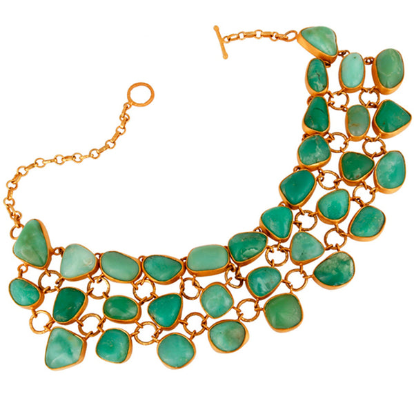 Pandora Bib Necklace in Vintage Jade & Gold