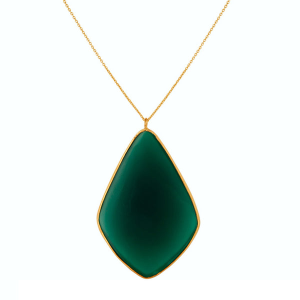 Delaney Pendant in Green Onyx