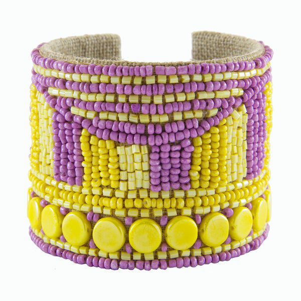 Disco Dot Devi Cuff in Lilac & Lemon