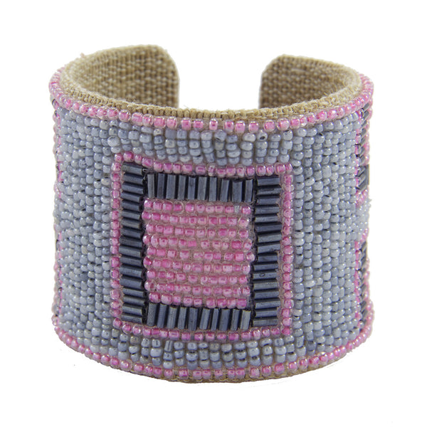 Mondrian Devi Cuff in Light Lilac and Blue Stone