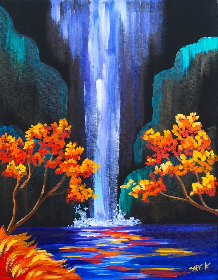 Golden Leafs On Colorful Waterfall Diamond Painting Kit - Paint By Diamonds