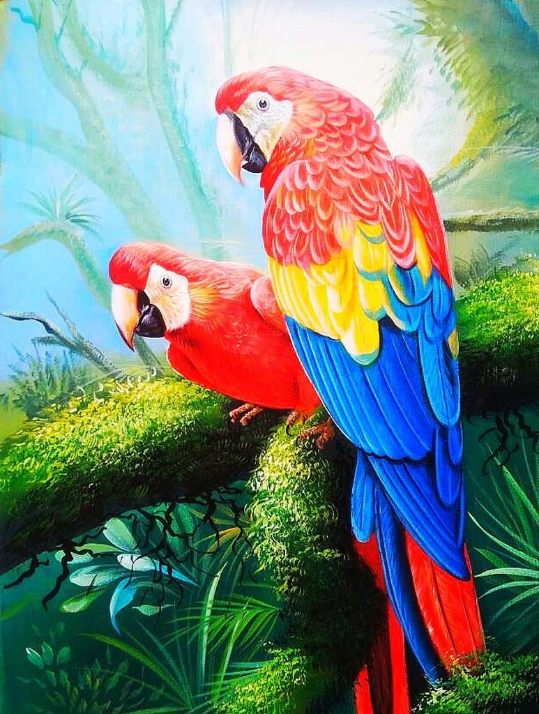 Two Colorful Parrots Diamond Painting Kit - Paint By Diamonds