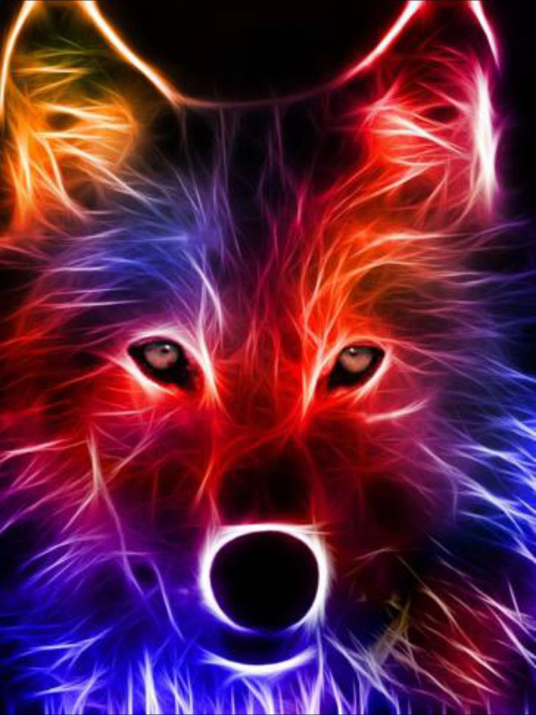 Colorful Electric Wolf Diamond Painting Kit - Paint By Diamonds