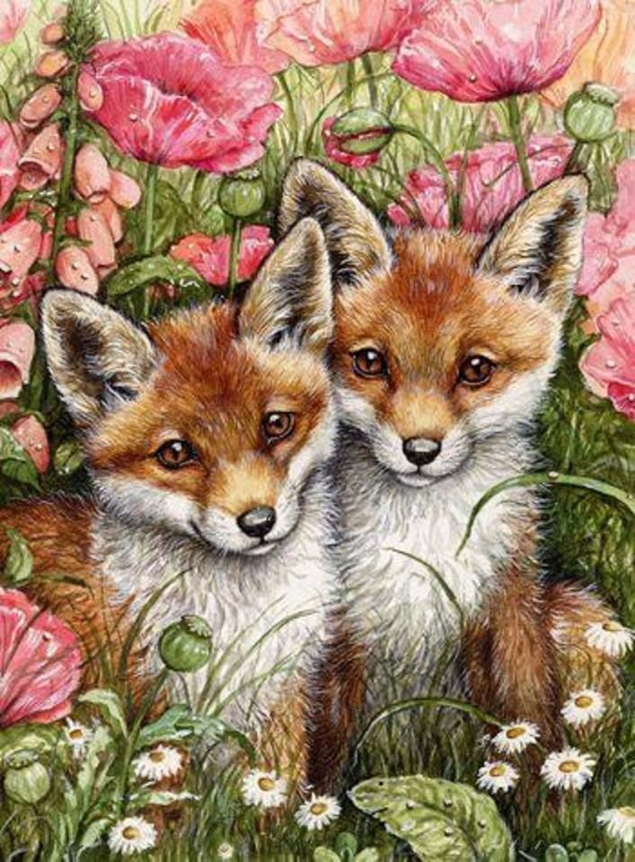 Puppy Foxes Diamond Painting Kit - Paint By Diamonds