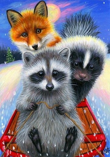 Funny Raccoons and Fox Diamond Painting Kit - Paint By Diamonds