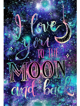 I Love You To The Moon And Back Diamond Painting Kit - Paint By Diamonds