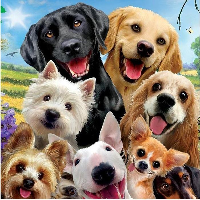 Happy Dogs Selfie Diamond Painting Kit - Paint By Diamonds