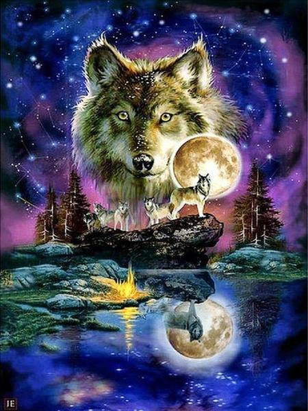 Wolfs Night and Moon Diamond Painting Kit - Paint By Diamonds