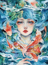 Load image into Gallery viewer, Sea Red Fish And Girl By Margaret Morales Diamond Painting Kit - MEIISS DIAMOND PAINTING