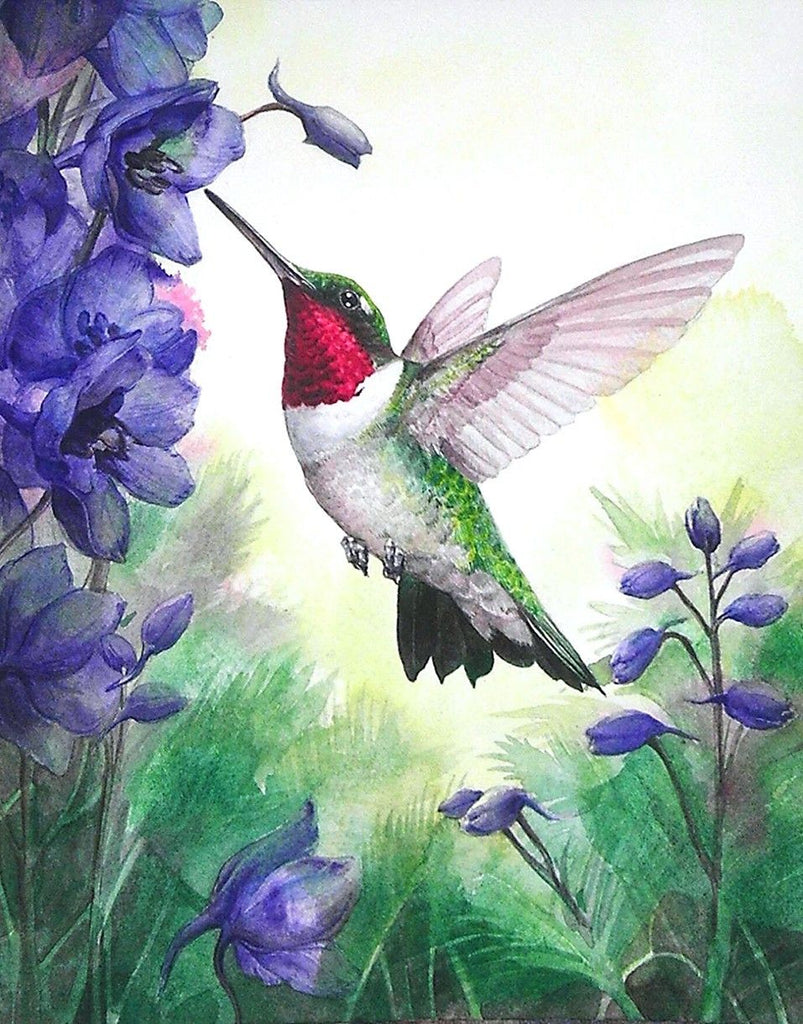 Amazing Hummingbird And Blue Flowers Diamond Painting Kit - Paint By Diamonds