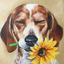 Load image into Gallery viewer, Dog With the Sunflower Diamond Painting Kit - MEIISS DIAMOND PAINTING