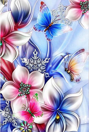 Butterflies on Flowers Diamond Painting Kit - Paint By Diamonds