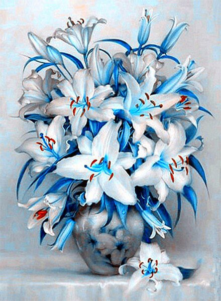 White And Blue Flowers Diamond Painting Kit - Paint By Diamonds