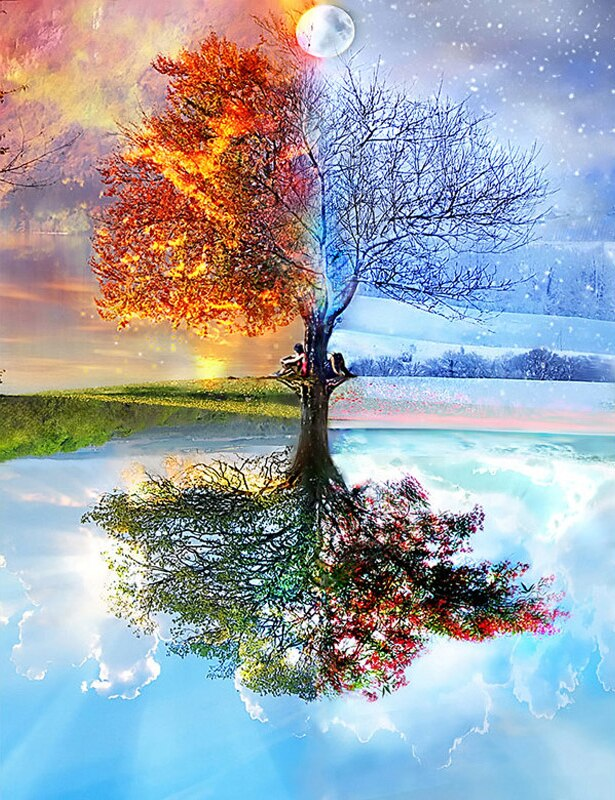 Colorful 4 Seasons Tree Diamond Painting Kit - Paint By Diamonds