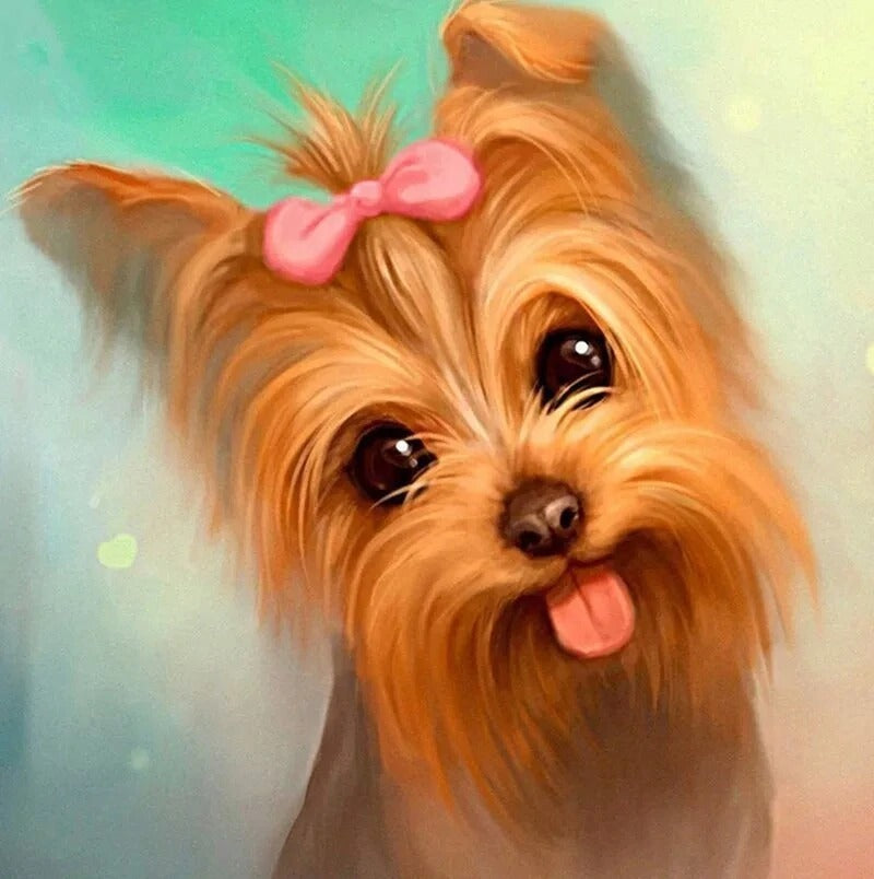 Yorkshire Terrier With Pink Bow Diamond Painting Kit - Paint By Diamonds