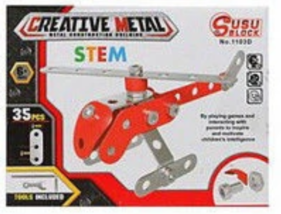 Creative Metal Creative Metal Construction Kit - siopashop.ie Helicopter